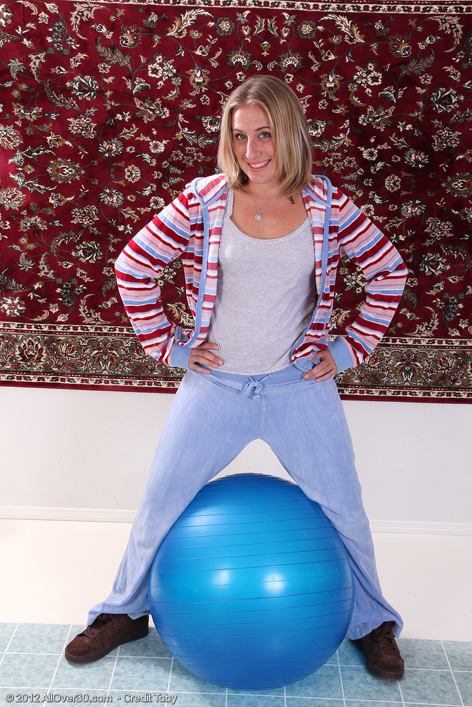 32 Year Old  Blond Haired  Mom Opportunity Gets Down and Dirty with a Pilates Ball