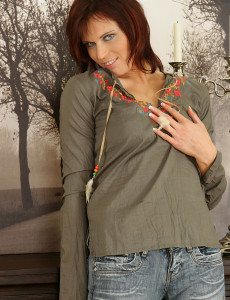 Taut Bodied Estella Fingers Her  Older  Slit for Our Cameras 