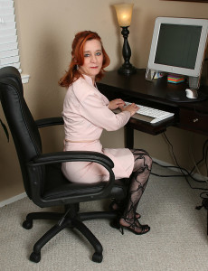 Redheaded Office Girl Looks Great  Bare at 53 Years Old