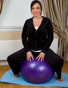 Big Breasted and  Older Michelle B Gets Intimate with Her Pilates Ball