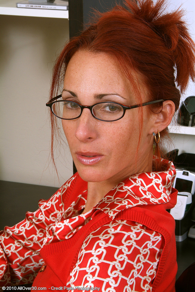 Skinny Redheaded  Cougar Skyla  Undresses and  Opens at the Office