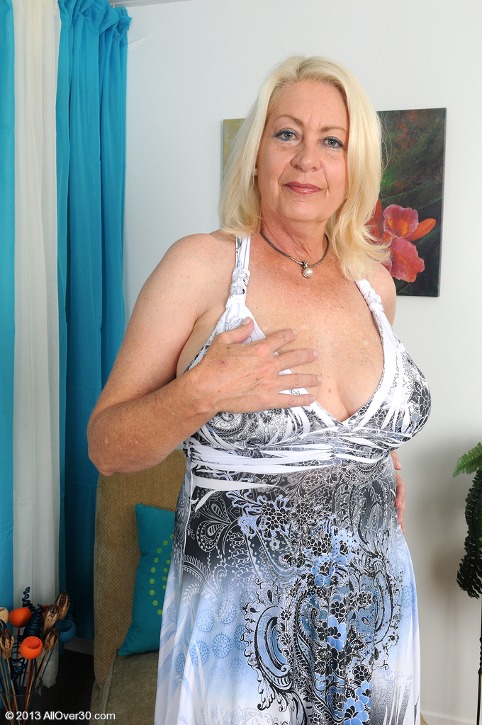 Wild 60 Year Old Angelique from  Milfs30 Tugs at Her  Older Box